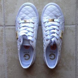G by Guess quilted, white shoes